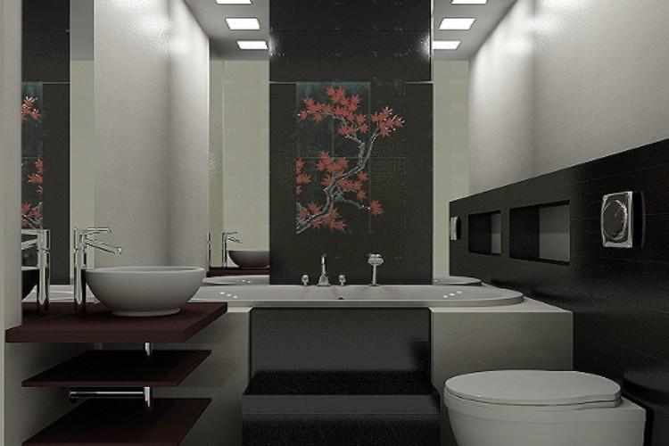 Японский стиль в интерьере ванной комнаты 2