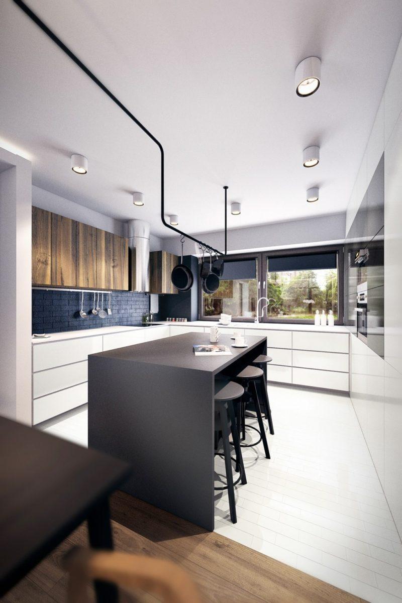 Черная кухня с белым полом