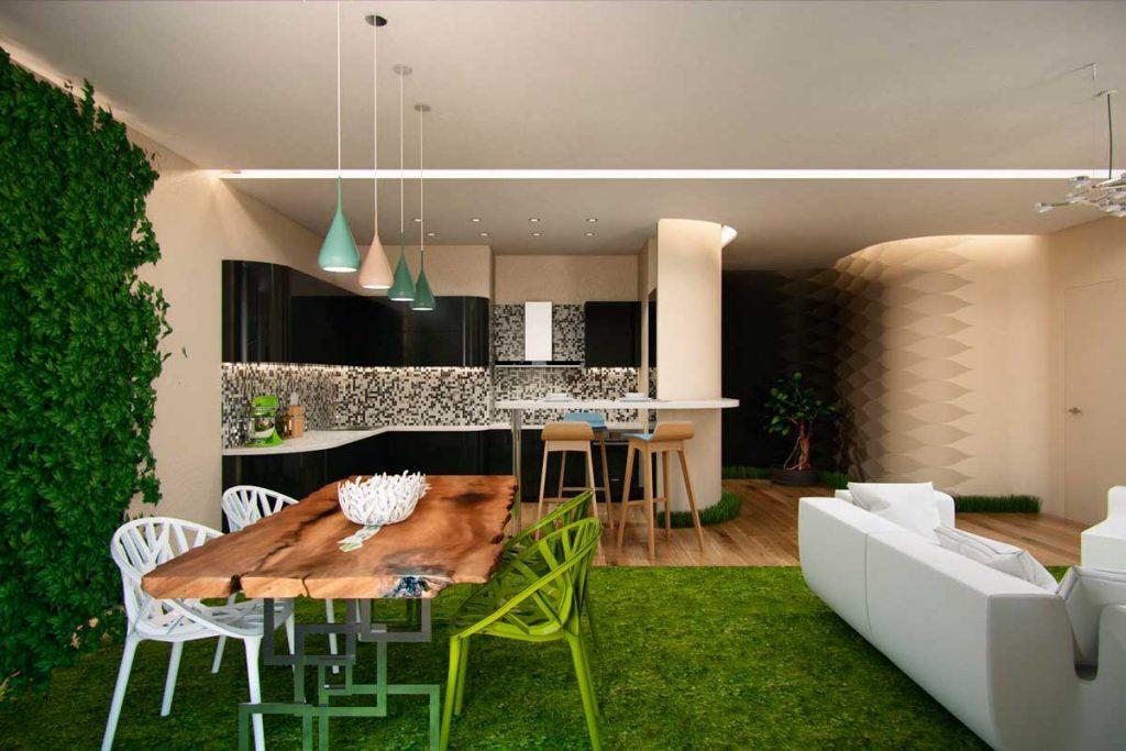 Квартира студия в эко-стиле