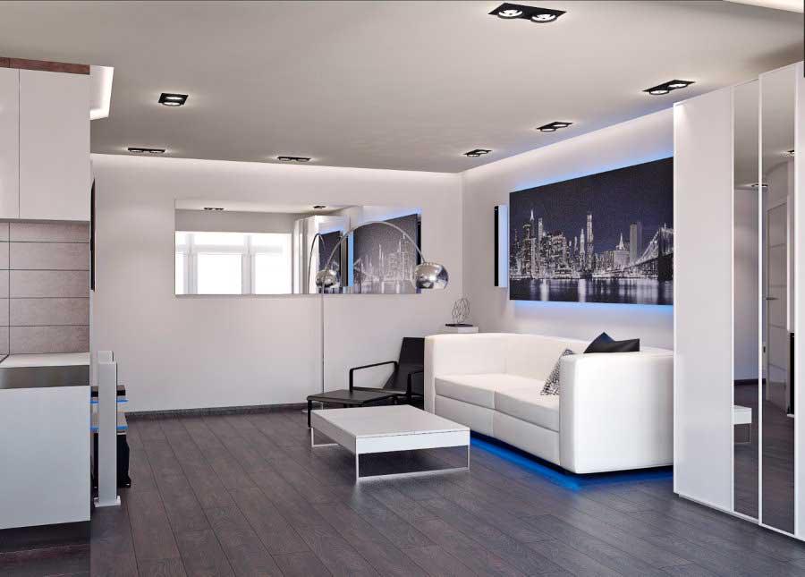 Квартира студия в стиле хай-тек