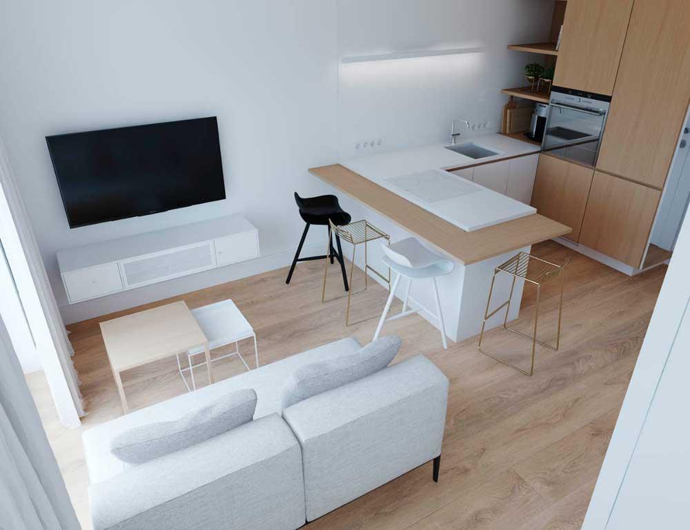 Квартира студия в стиле минимализм