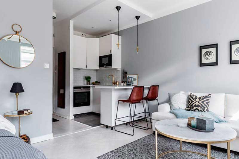 Лаконичность и простота в маленькой квартире студии