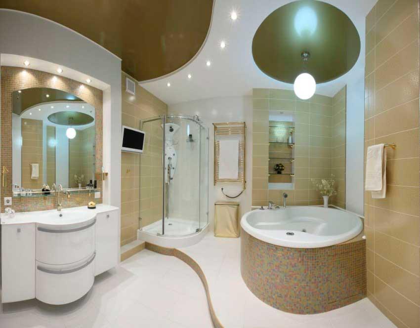 Мокрая и сухая зона ванной выполнена на разных уровнях.