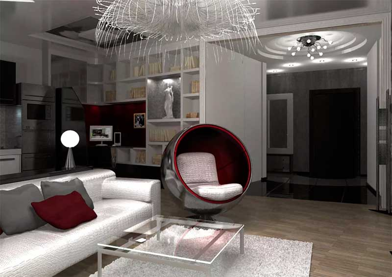 Сочетание серебристого с пурпурным цветовым акцентом придало особую элегантность гостиной.
