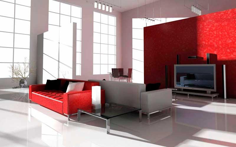 Сочный красный акцент создаёт диван и межкомнатная перегородка.