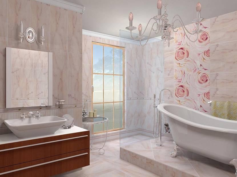 Светлая ванна в нежно-розовых тонах.