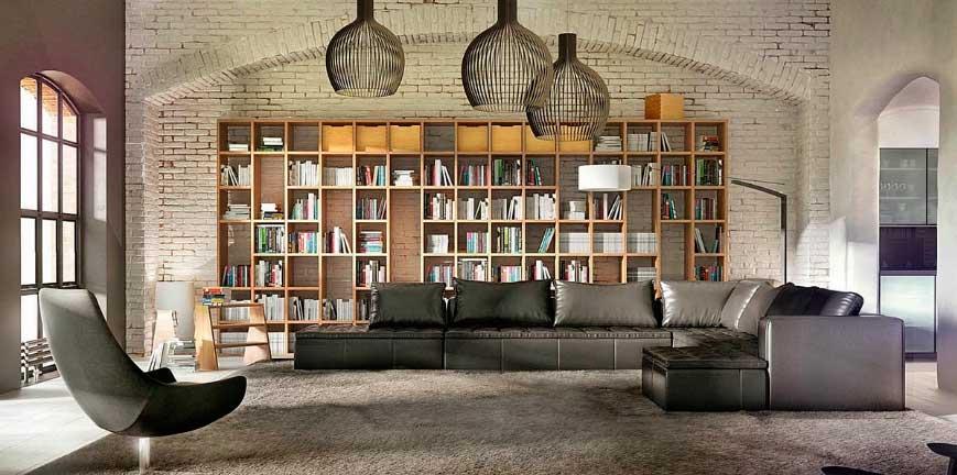 Мебель с прямыми чёткими линиями созвучна дизайну промышленного интерьера.