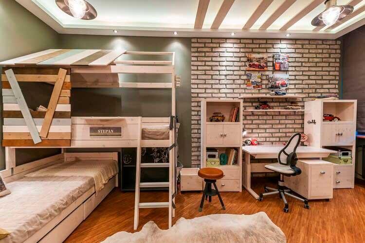Мягкий вариант стиля лофт в комнате ребёнка.