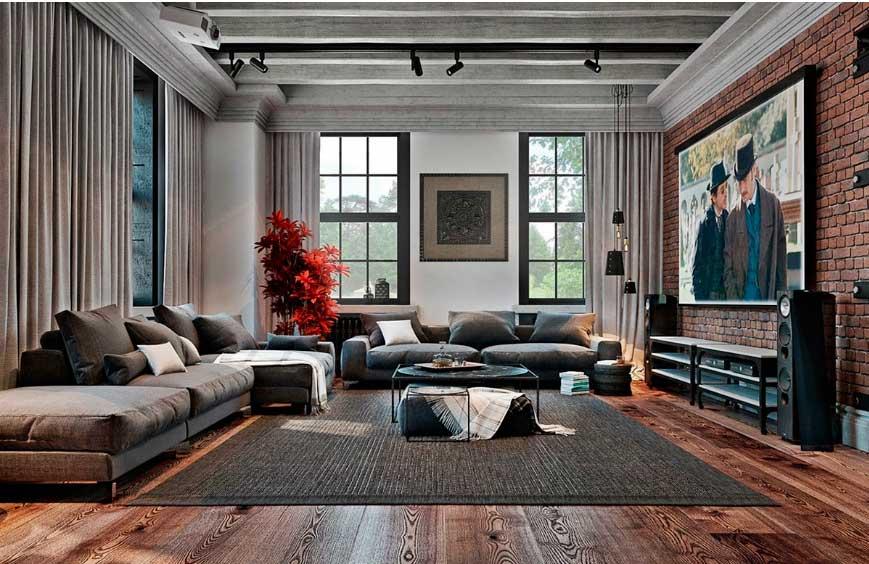 Несколько штрихов промышленного стиля завершили образ гостиной.