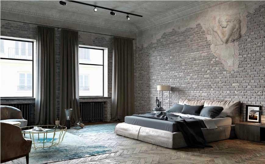 Стильное оформление стен под старину создаёт особый шик.