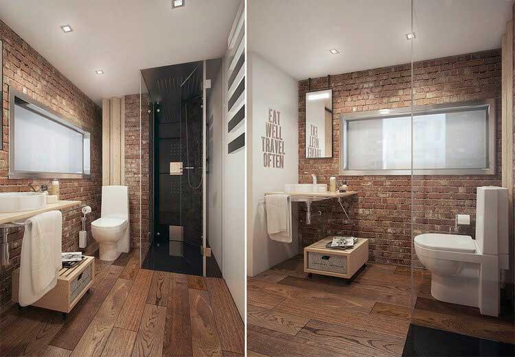 Ванная комната с душевой кабинкой в стиле лофт.