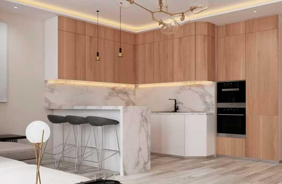 Светлая плитка из керамики или натуральное дерево удачно соседствуют с ламинатом и линолеумом.