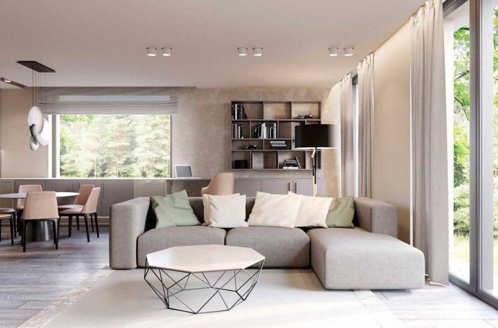 В стиле контемпорари используются  осветительные приборы в современном стиле, желательно правильной геометрической формы.