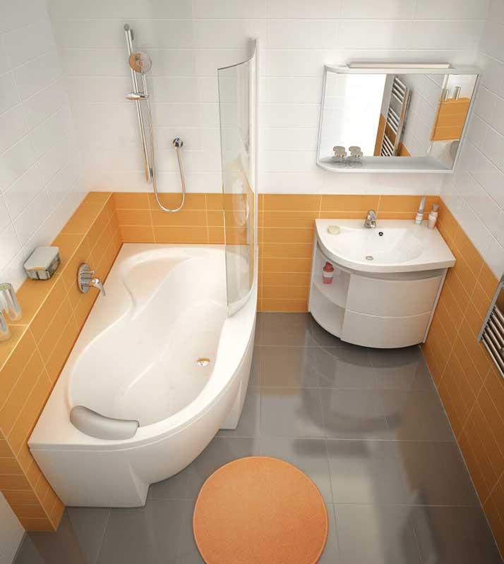 Интерьер ванной комнаты с угловой ванной