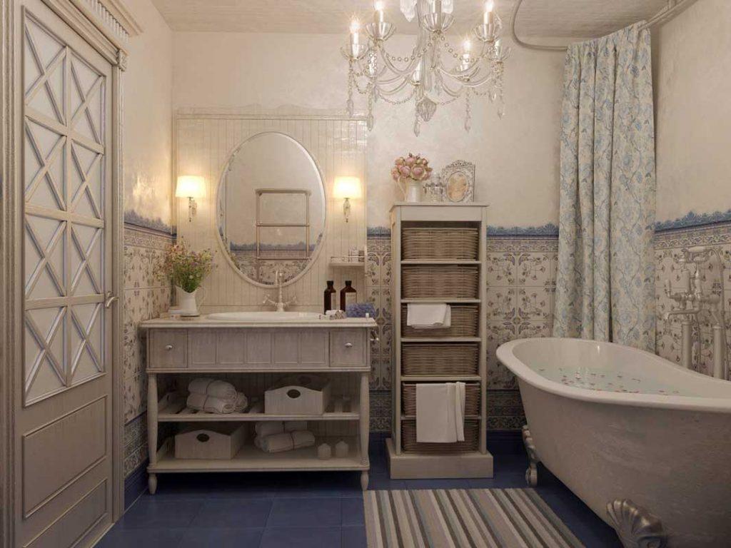 Прованс в интерьере ванной
