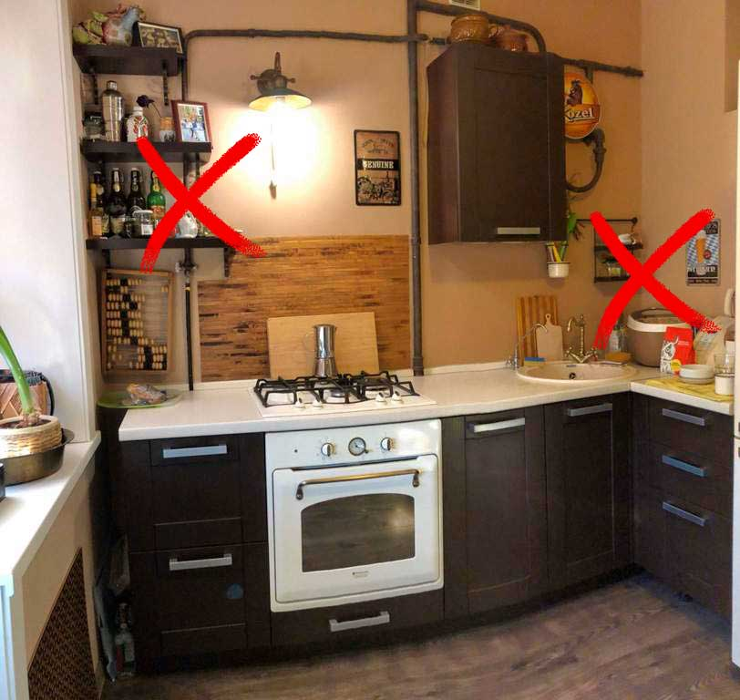Ошибки в оформлении дизайна маленькой кухни